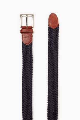 Braided woven belt with leather piping
