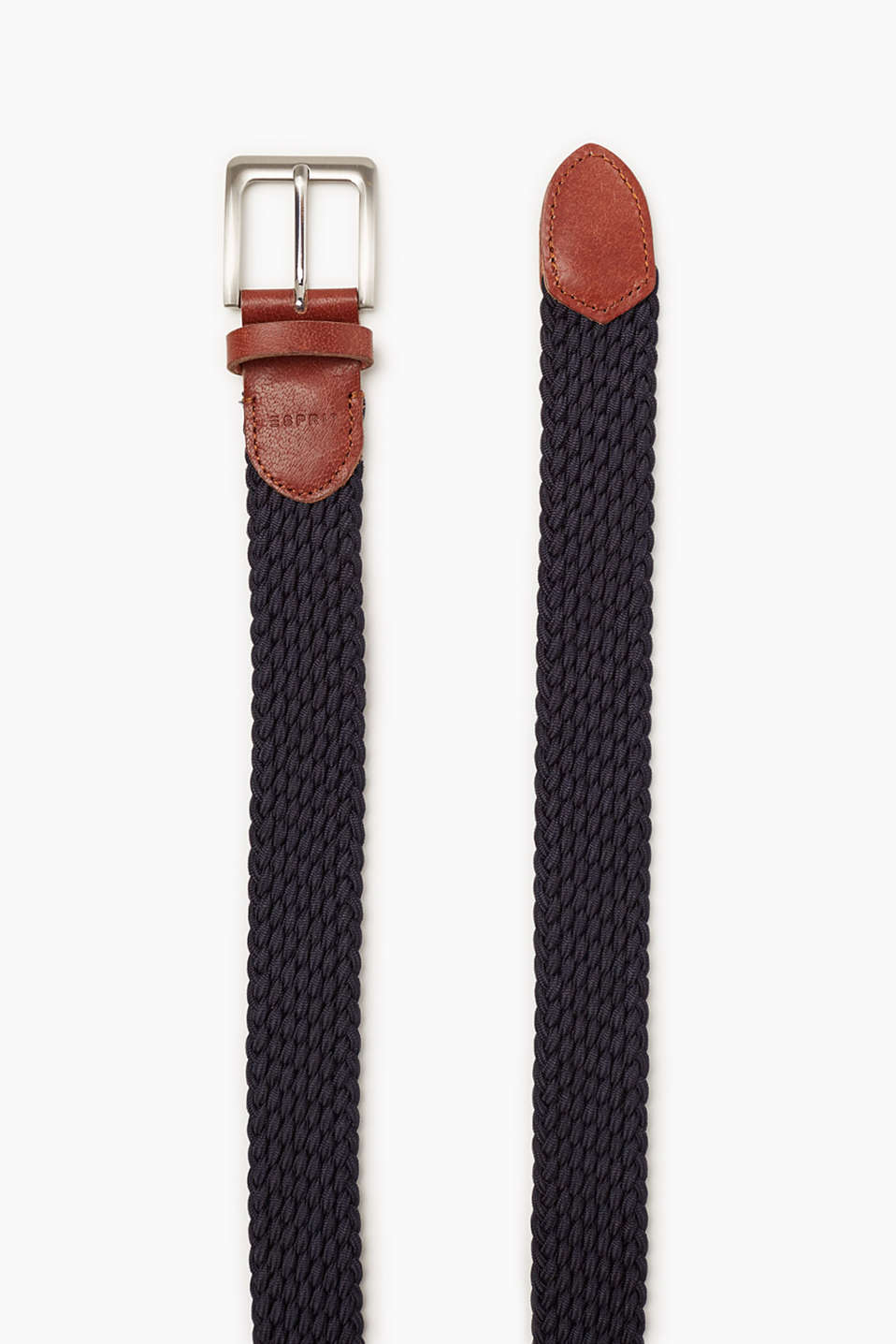 Belt with piping in smooth buffalo leather and a polished pin buckle