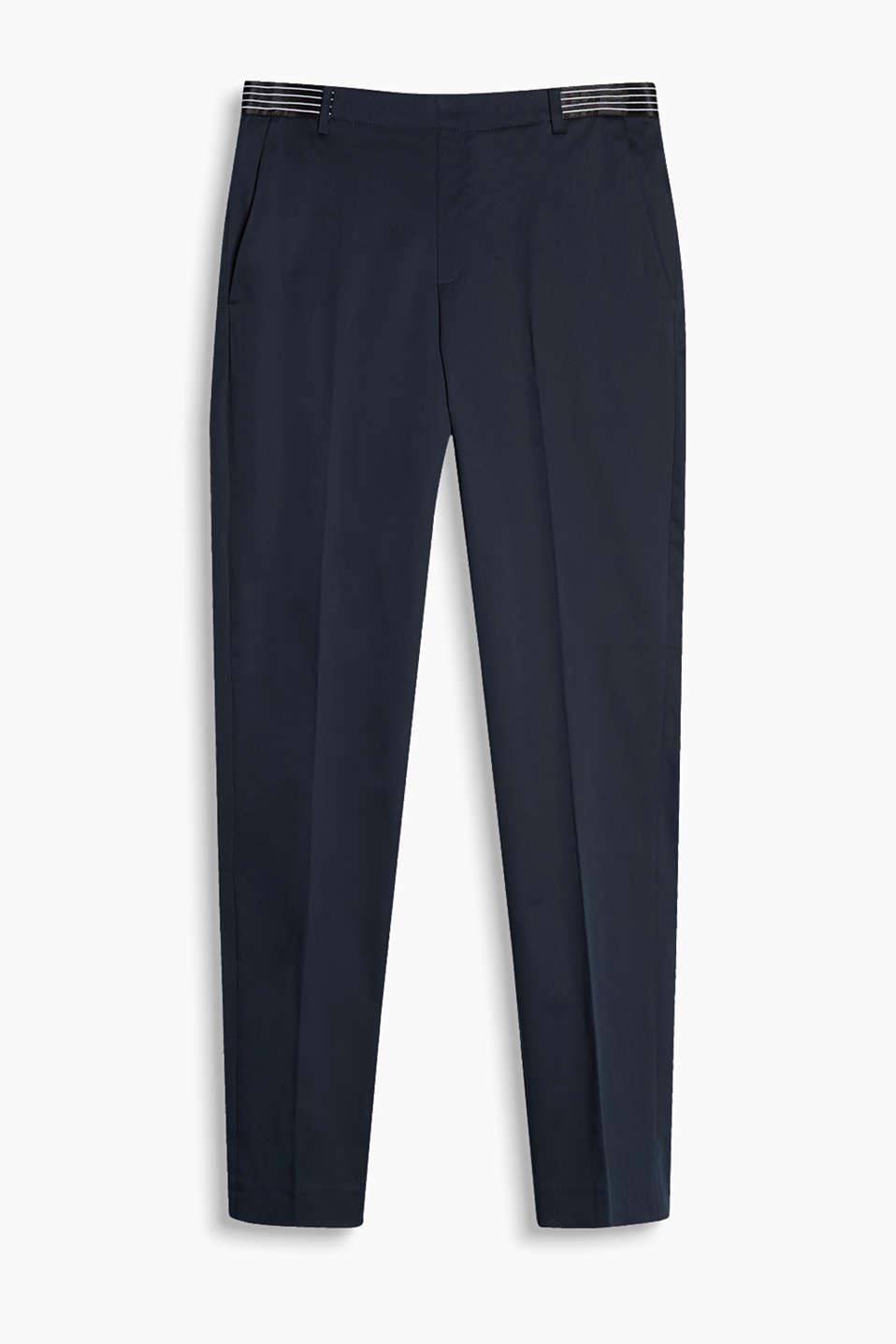 Trousers with a style mix: with an elasticated waistband and pressed pleats