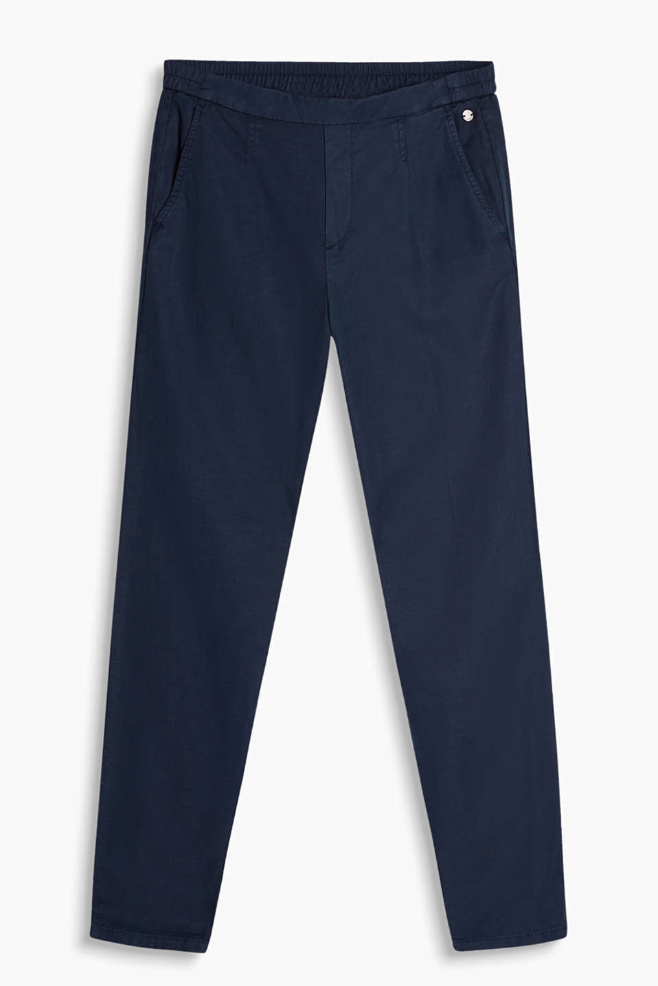 Airy, linen blend chinos with a comfy, partially elasticated waistband