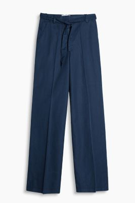 Wide cotton/linen blend trousers