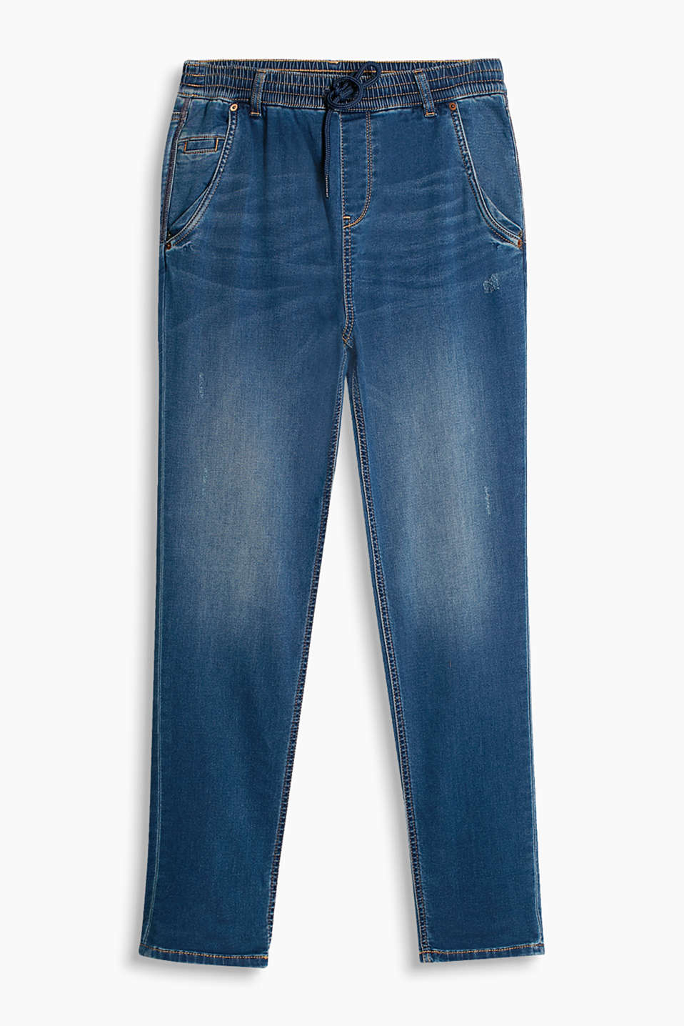 Soft and lightweight, cool boyfriend-style jeans with an elasticated waistband and vintage finish