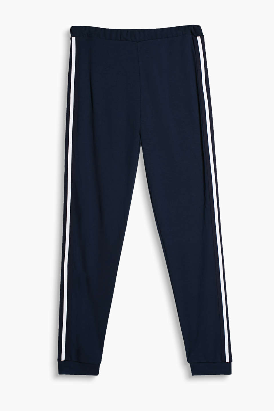 Stylish jersey tracksuit bottoms with tuxedo stripes and an elasticated waistband