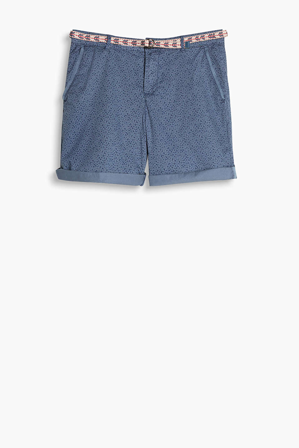 Lightweight stretch cotton shorts in a washed look with a colourful textile belt