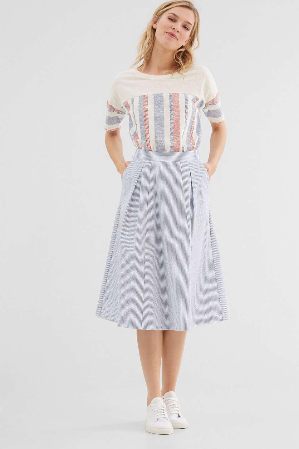 Esprit - Striped seersucker midi skirt at our Online Shop