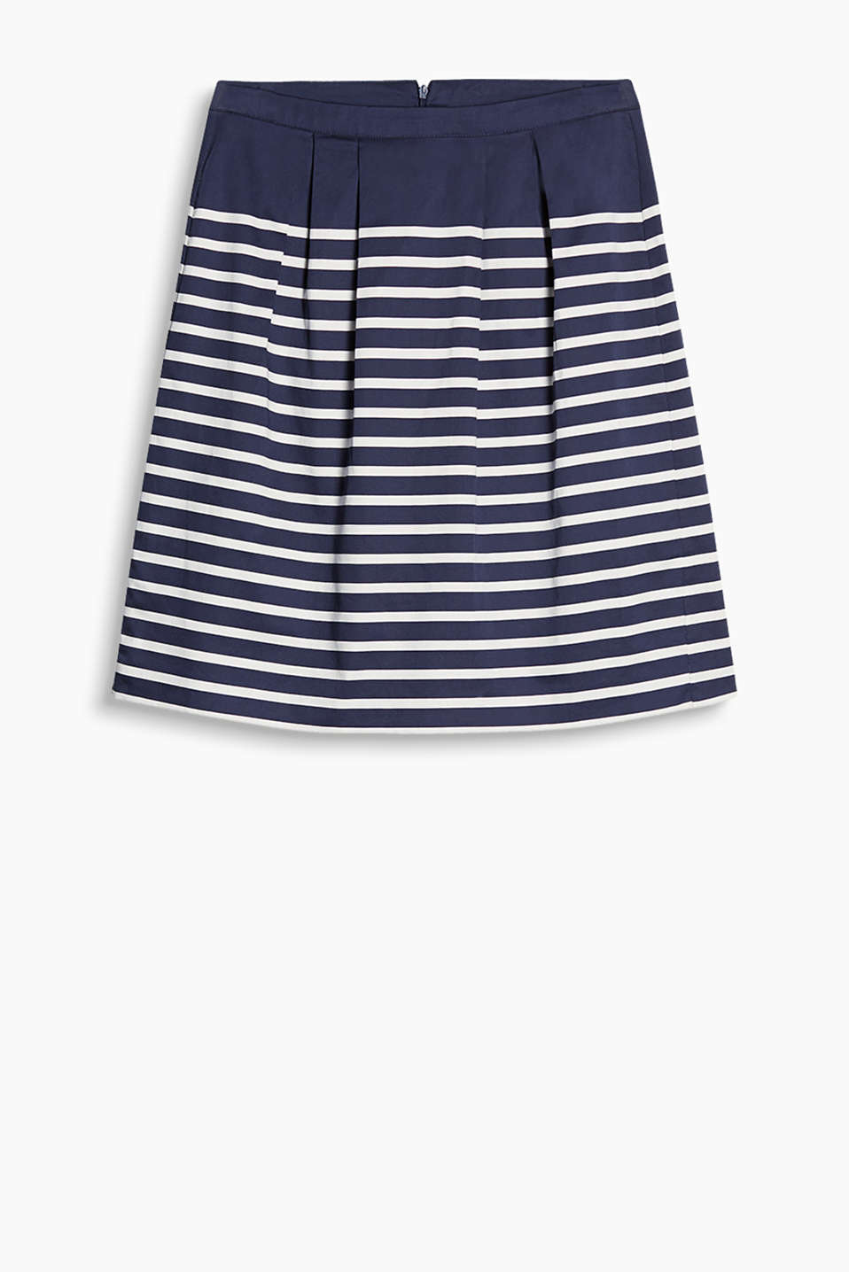with an attached waistband, inset pleats and nautical stripes