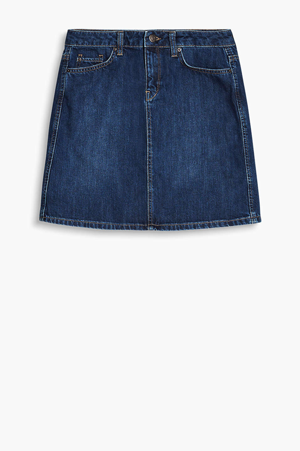 Slightly flared denim skirt with five pockets, 100% cotton