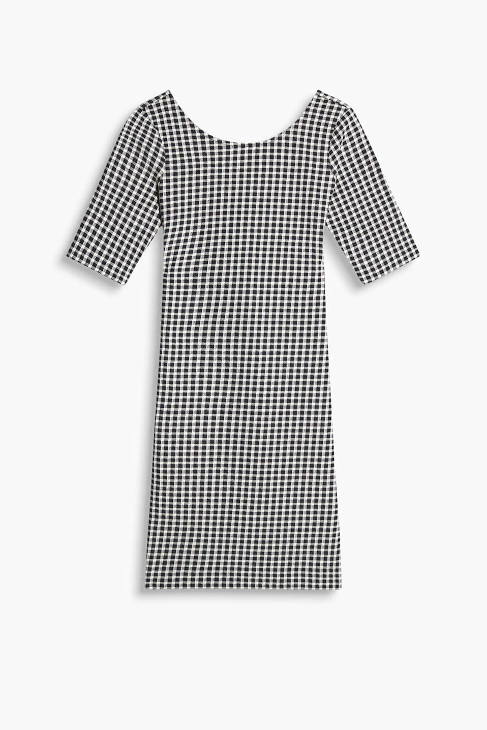 Figure-flattering stretch jersey dress with a modern gingham pattern, 3/4-length sleeves and deep round necklines