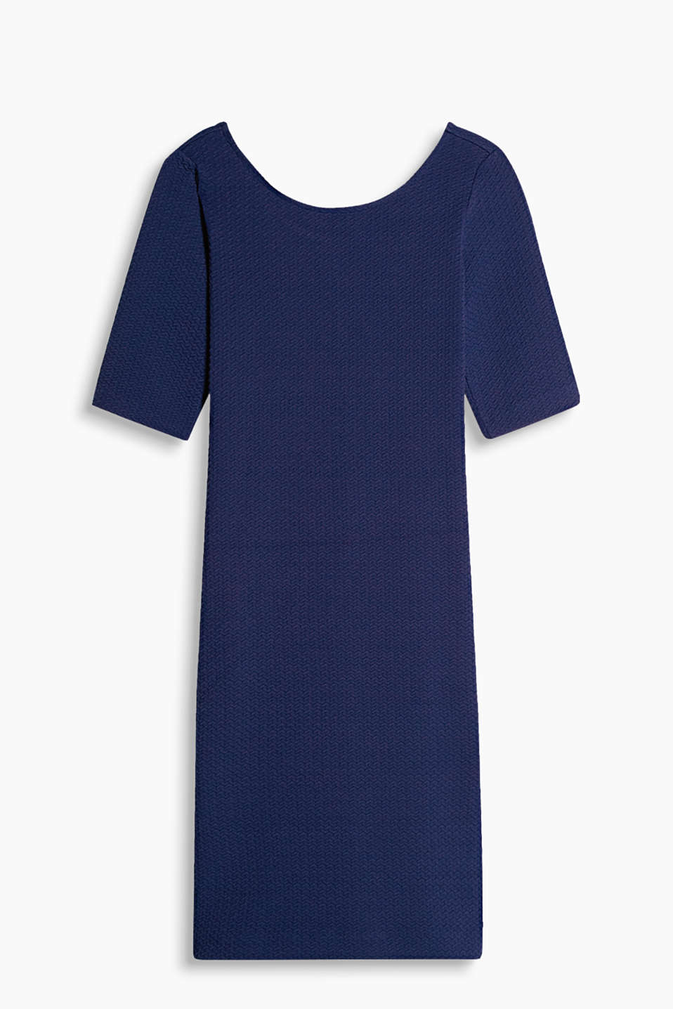Stretch jersey dress with an all-over textured pattern and deeper back neckline