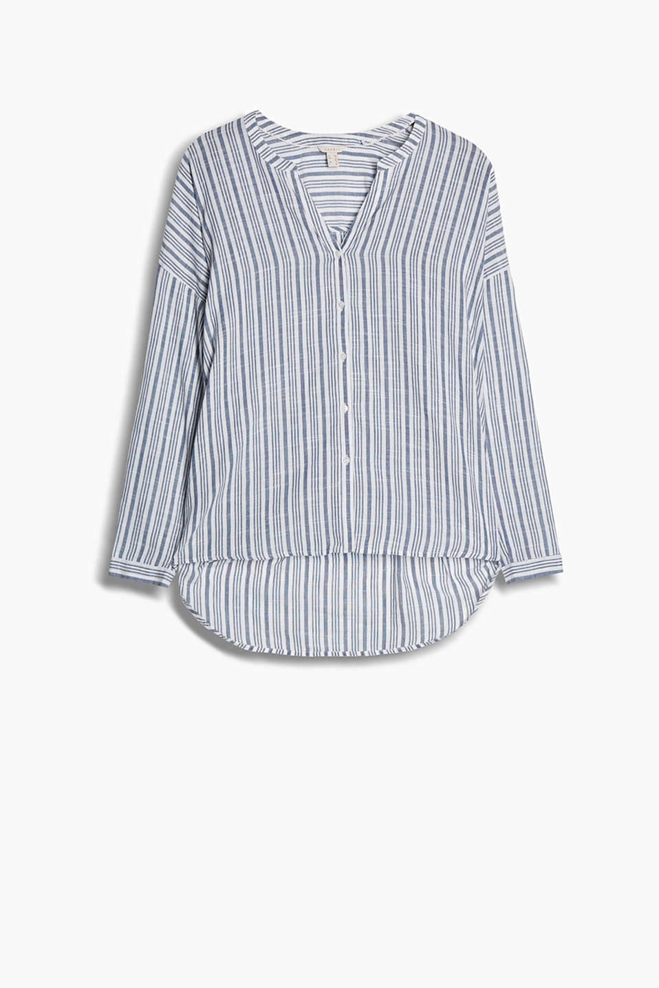 Light, striped shirt with a Henley neckline and turn-up sleeves made of pure cotton