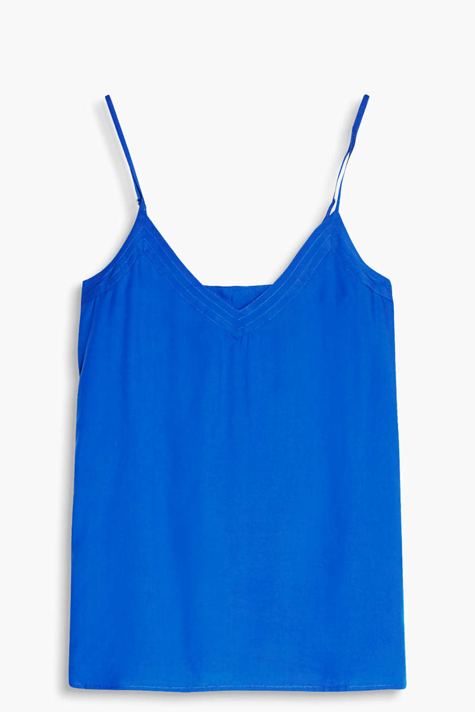 Floaty top with a generous V-neck and adjustable spaghetti straps