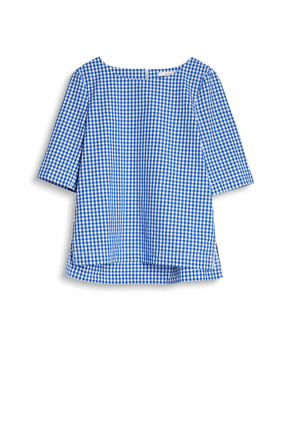 Slightly boxy cotton blouse with a trendy gingham check pattern, longer wide sleeves and a button placket on the back