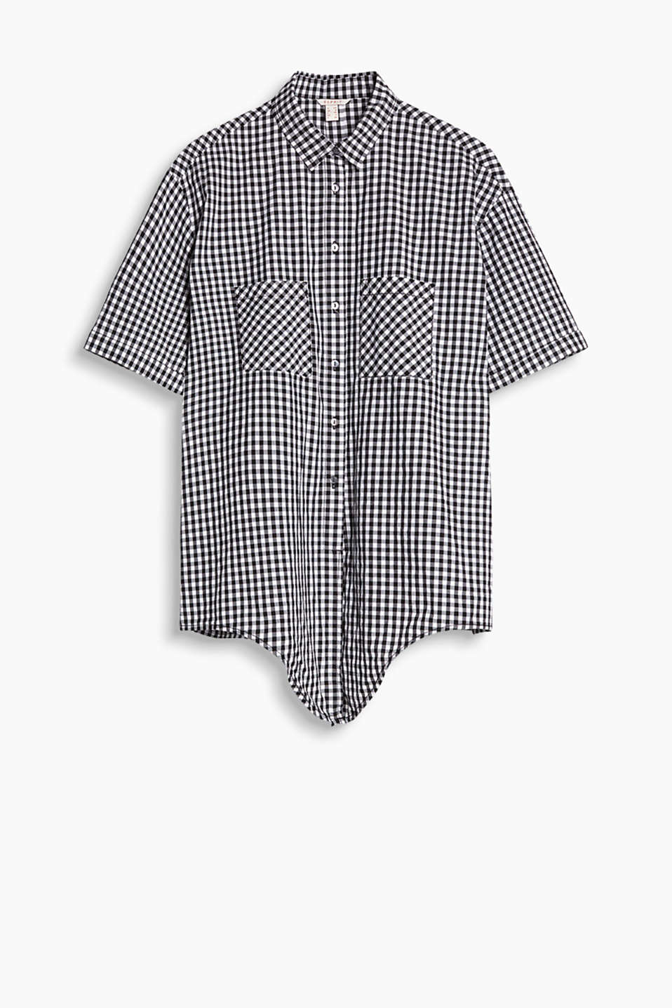 Blouse with a trendy gingham check pattern and knotted hem, 100% cotton