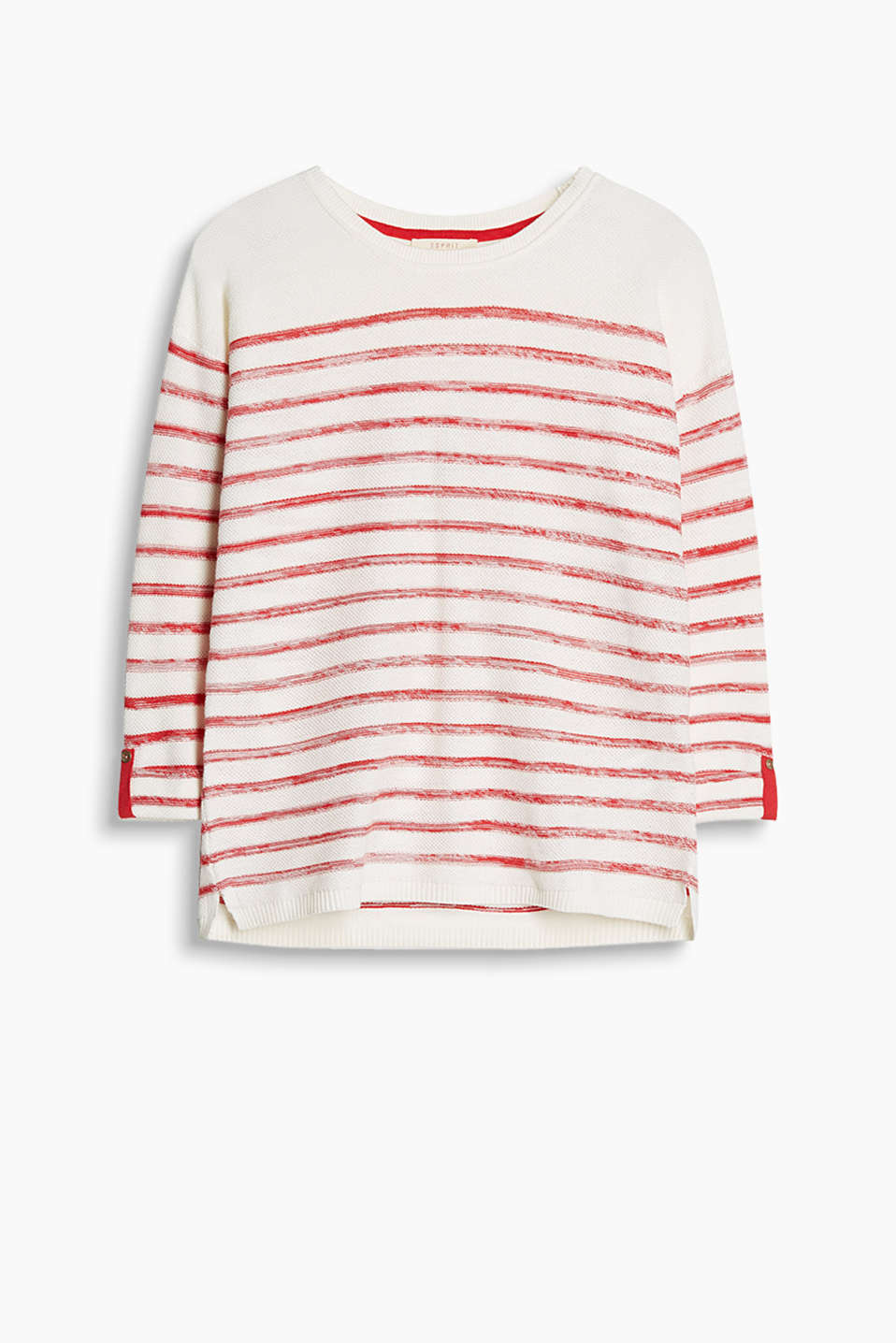 Lightweight cotton jumper with fixed turn-up sleeves and textured stripes