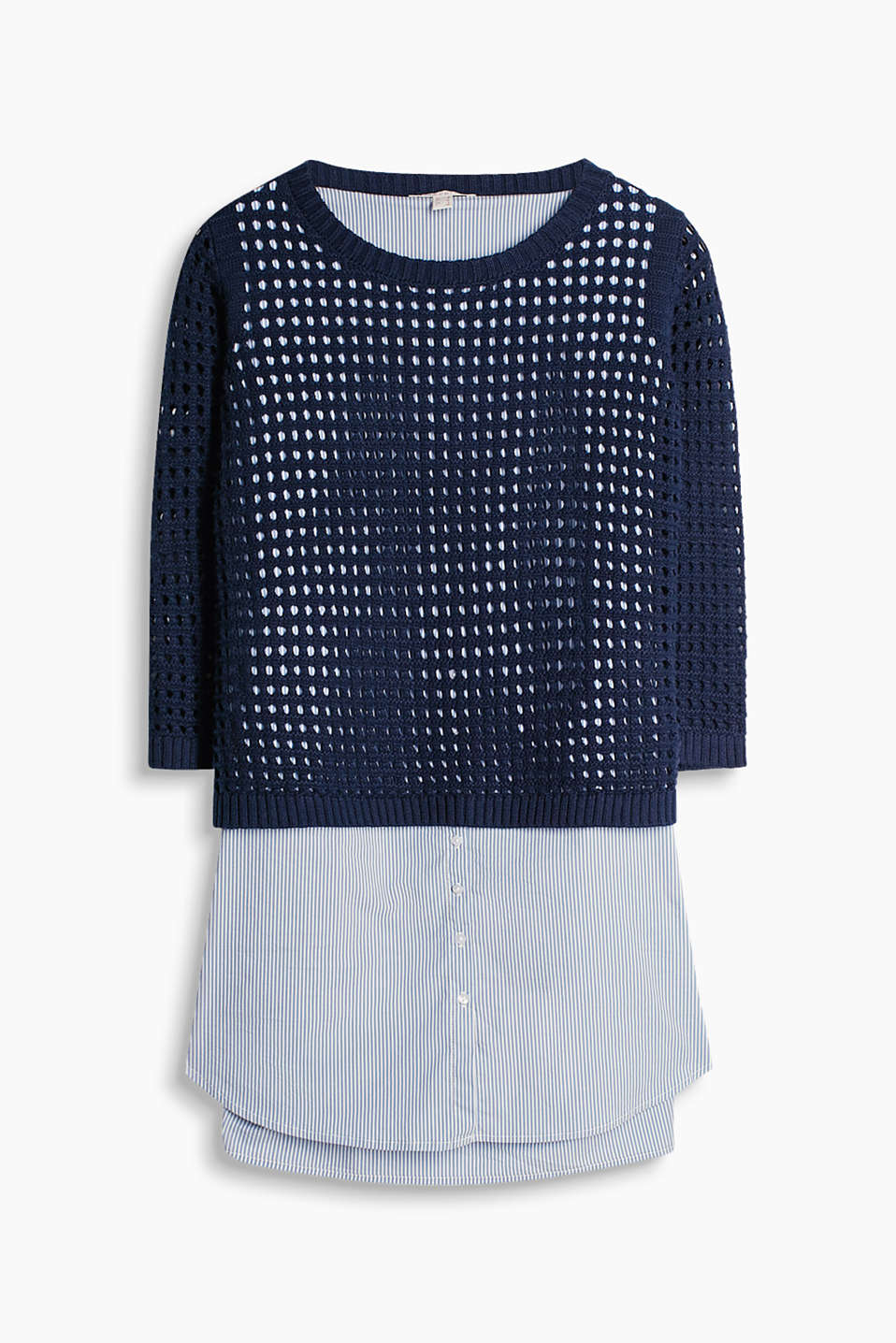 Innovative 2-in-1 jumper with an openwork pattern and an integrated woven striped top