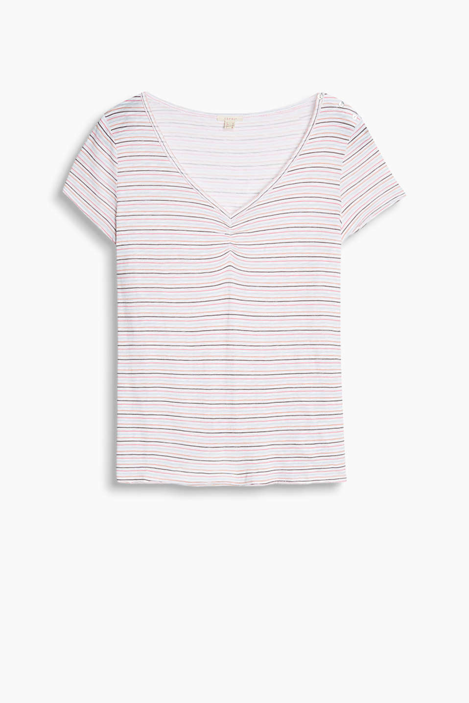 Airy slub jersey top with multicoloured stripes, decorative button placket, gathered V-neck and fringed hems