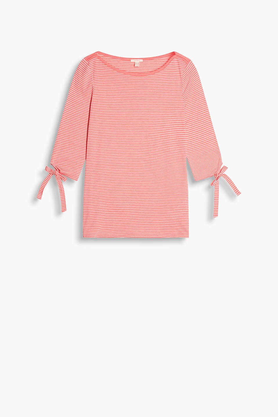 Slightly fitted, striped T-shirt with embellished three-quarter length sleeves