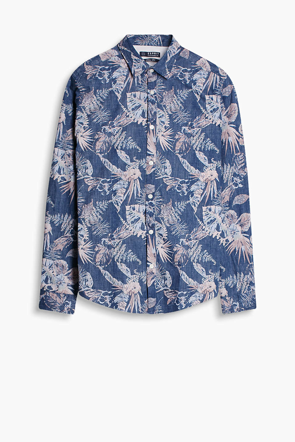 100% cotton shirt with an on-trend, dark botanic print
