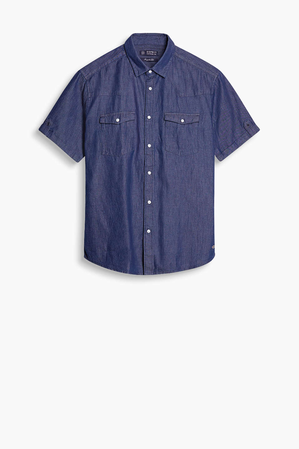 Shirt with breast pockets, press studs and an iridescent denim finish