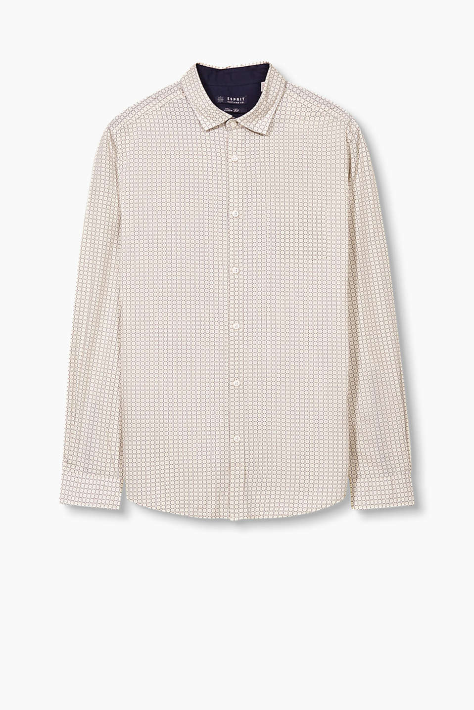 Cotton poplin shirt with an all-over print and breast pocket