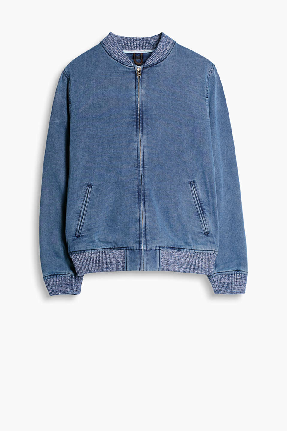 Denim-effect bomber jacket with a garment-washed finish and knitted borders