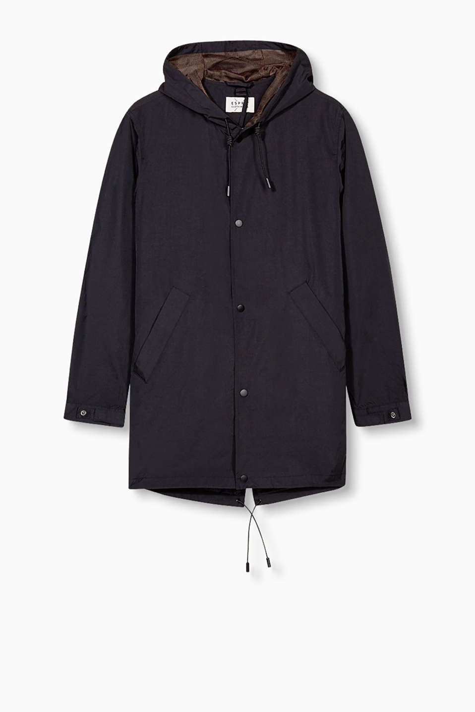Windcheater with a removable zip pocket and press studs