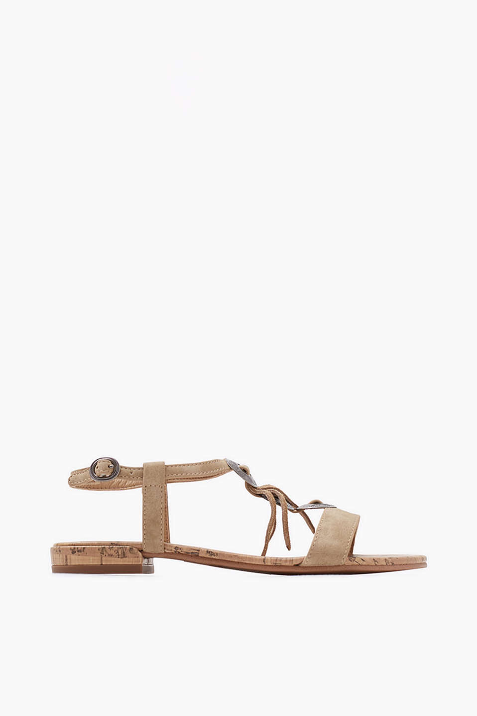 With an embellished T-bar: sandals in imitation nubuck leather