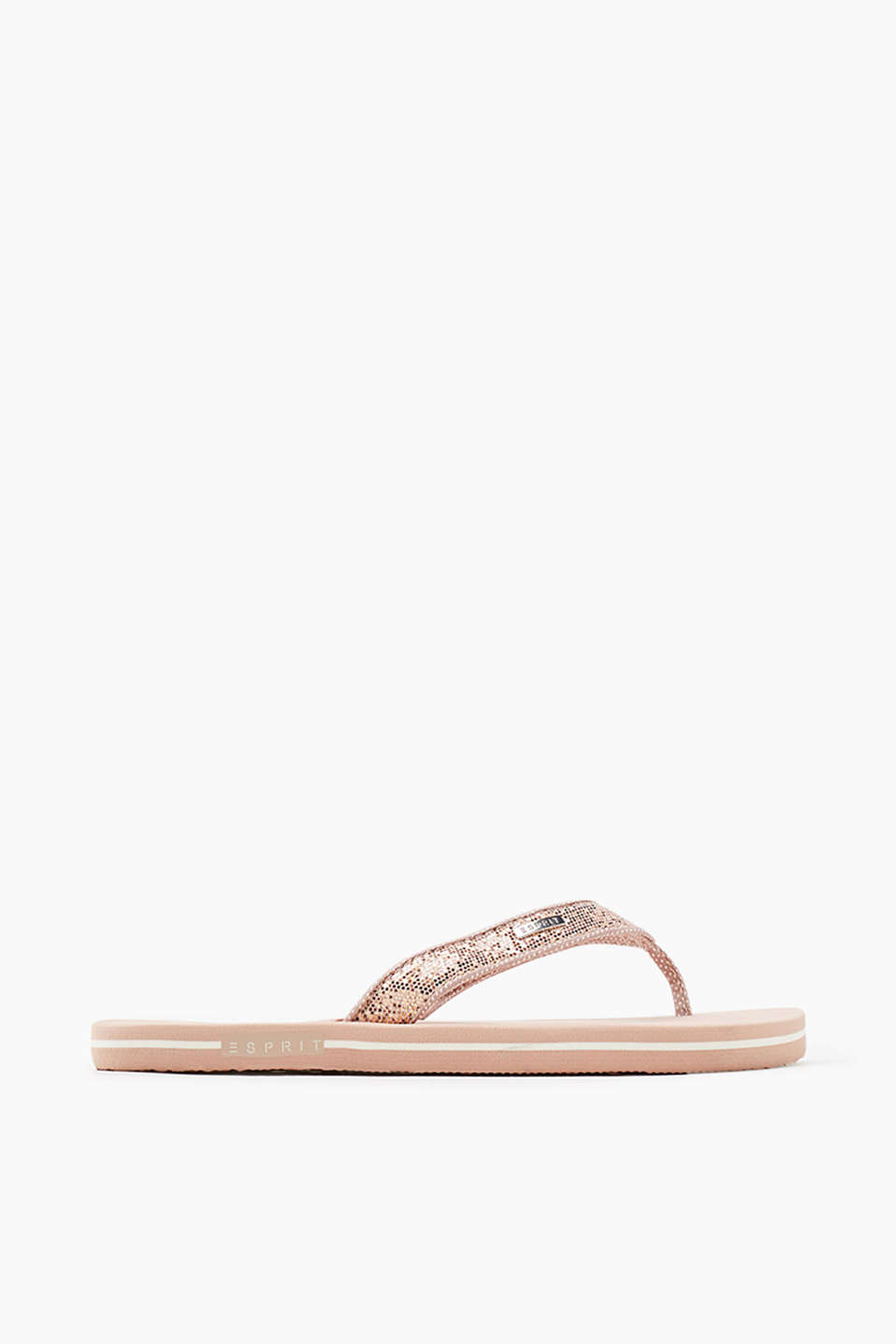 City thong sandals with textured, glittery straps