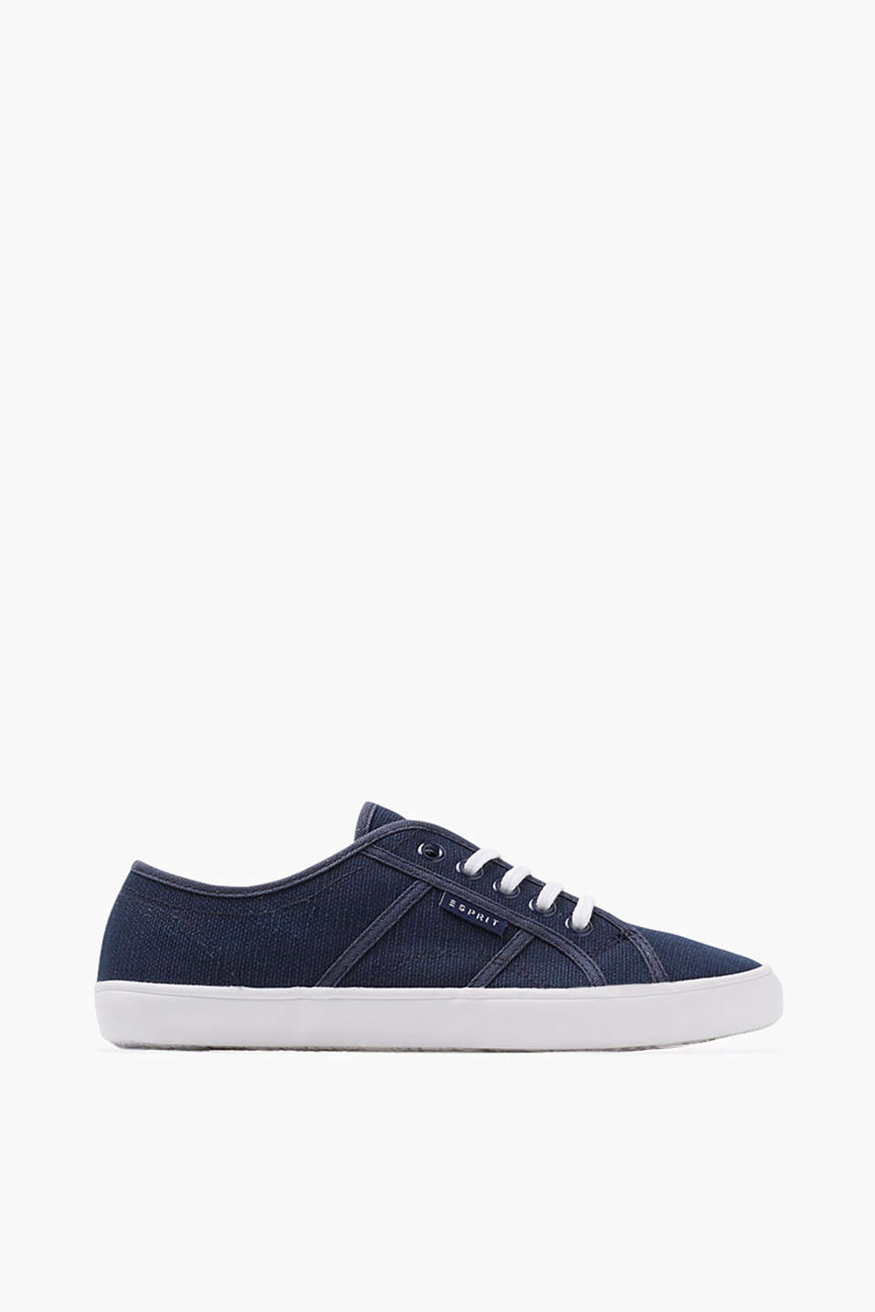 Basic lace-up trainers with a rubber sole, made of cotton canvas