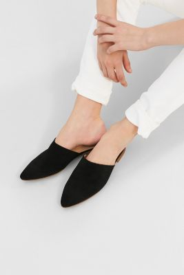 Pointed suede slip-ons
