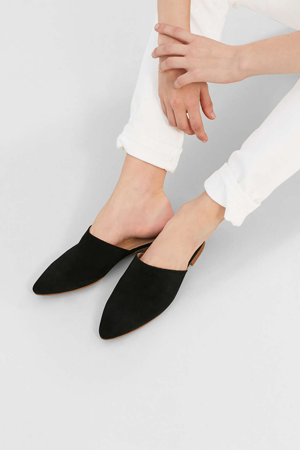 Brushed suede slip-ons in a feminine, pointed design