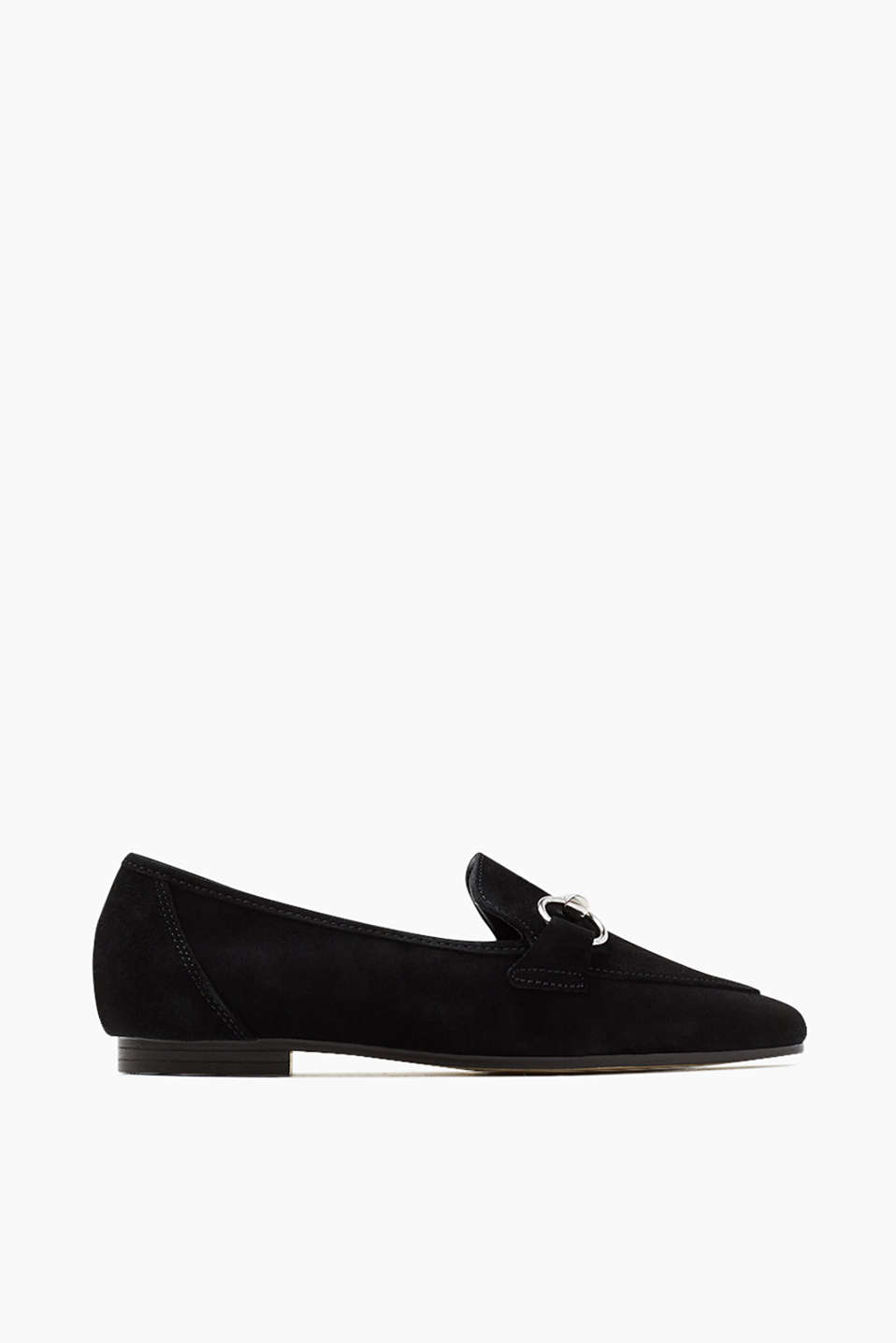 Soft suede loafers with an eye-catching, silver-coloured buckle