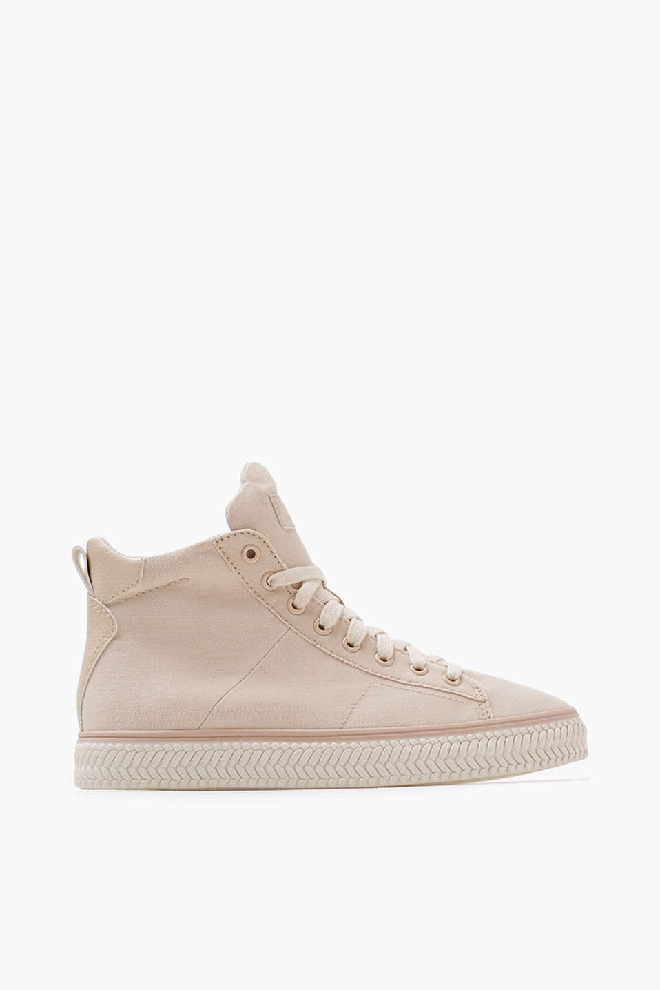 High-top trainers with a striking tongue, textured rubber sole and practical zip on the inner side