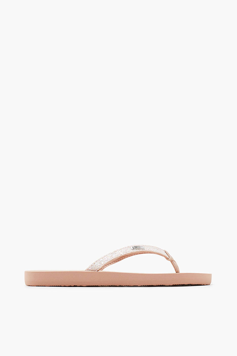 City slip slops with glitter-trimmed straps
