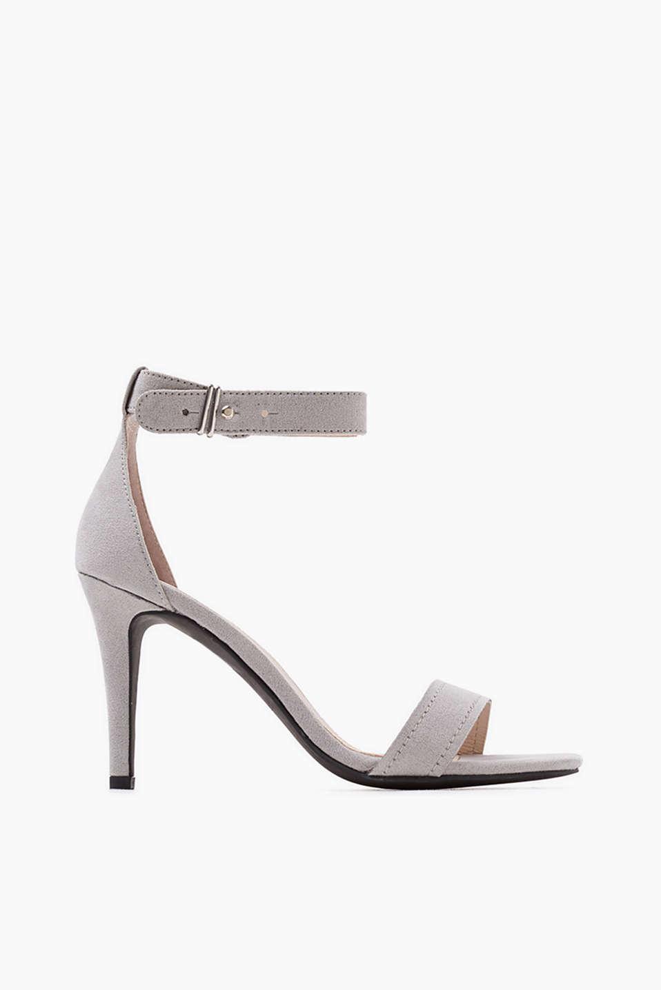 Black esprit sandals - Slim Sandals With A Stiletto Heel In Faux Suede