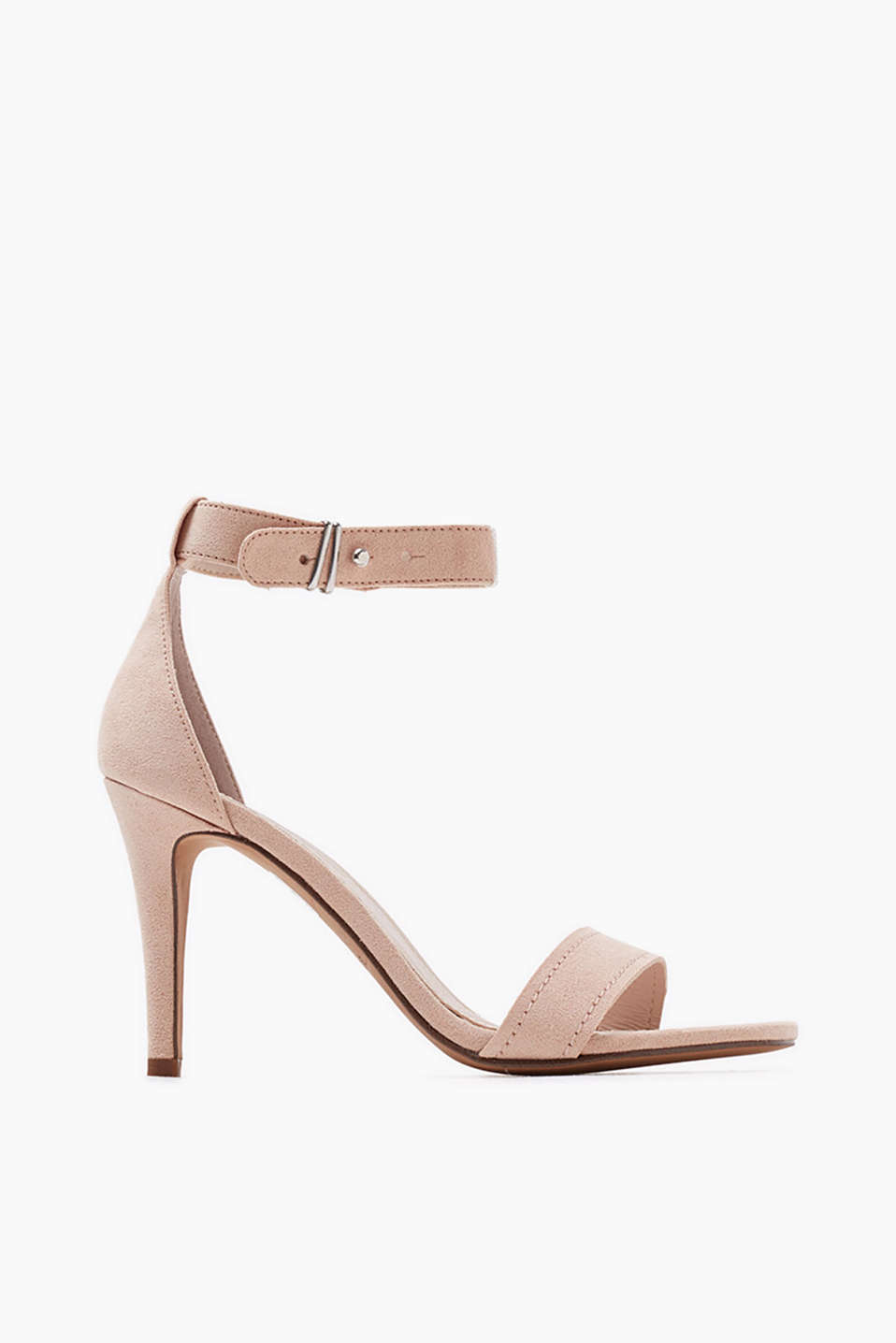 Slim sandals with a stiletto heel in faux suede