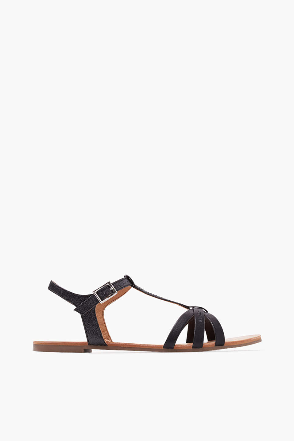 In faux leather with a glittering finish: T-bar sandals with ankle straps