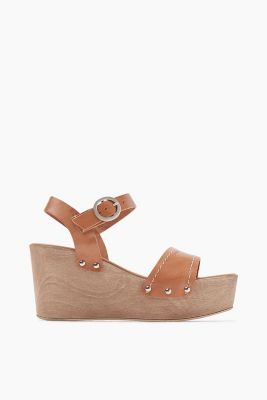 Leather platform sandal with a wedge heel