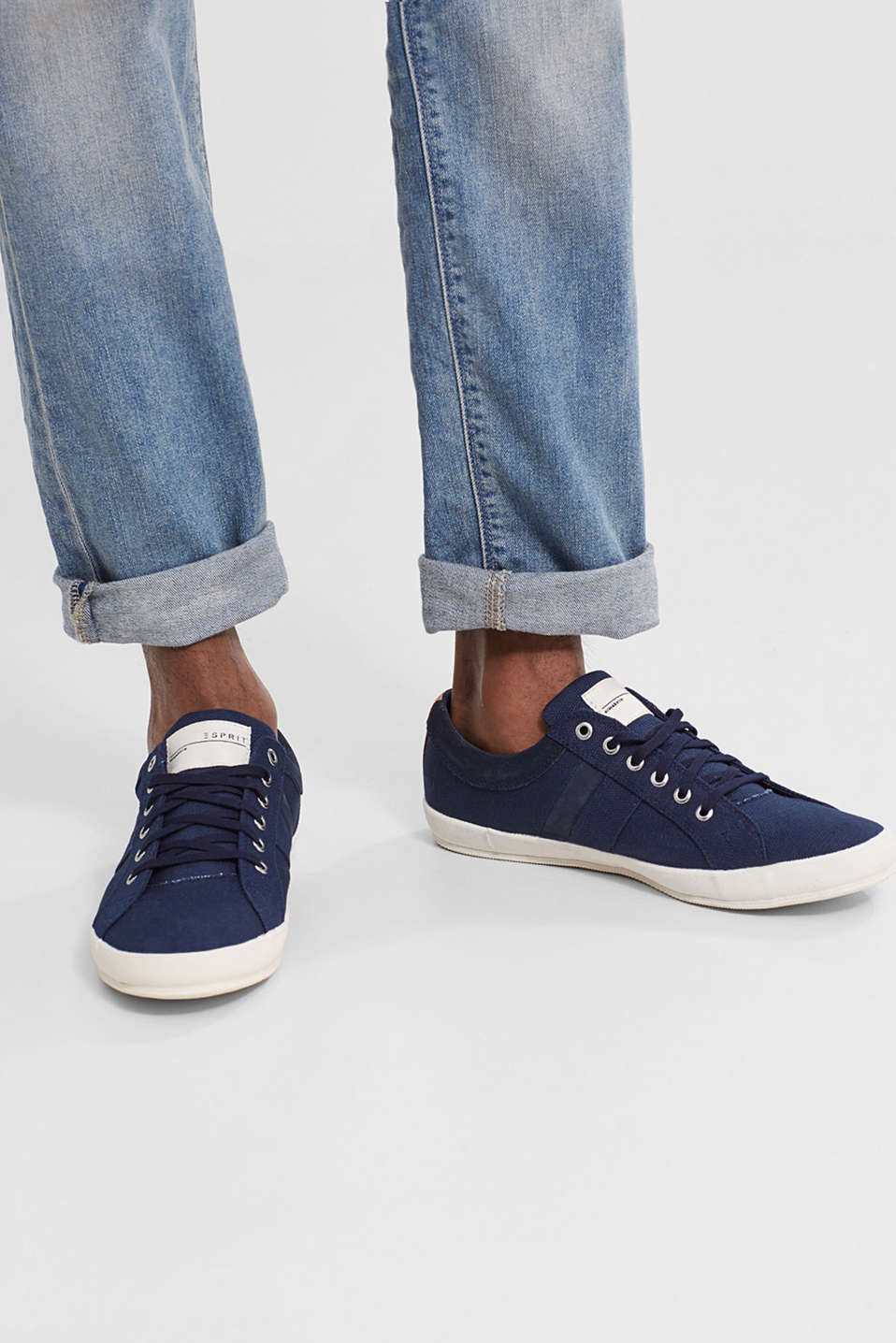 Cotton canvas lace-up trainers with suede panels