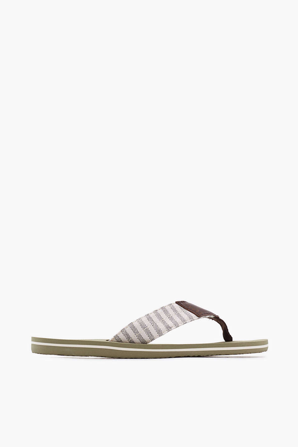 City thong sandals with cotton canvas straps
