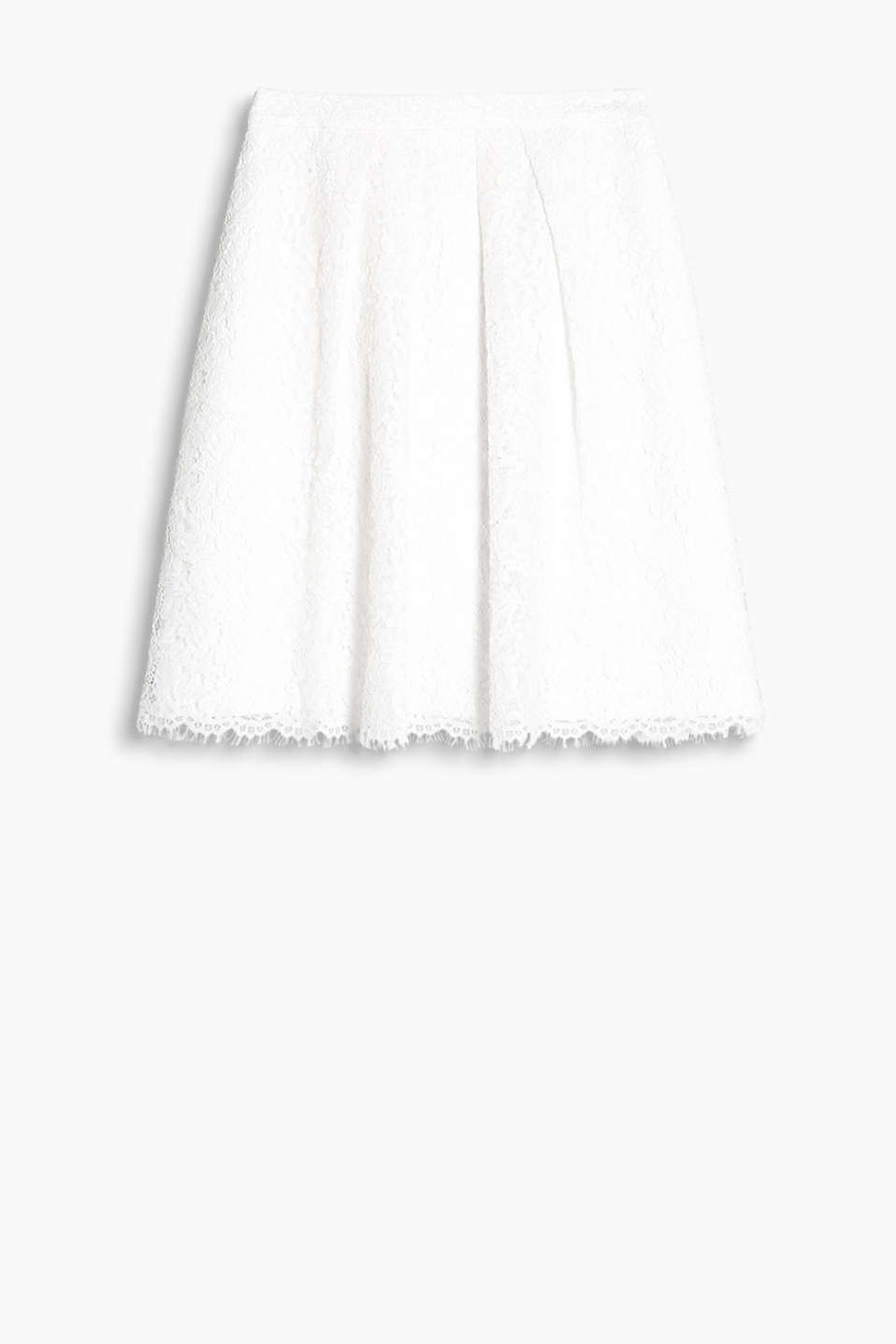 Elegant lace skirt with a fixed waistband and inset pleats