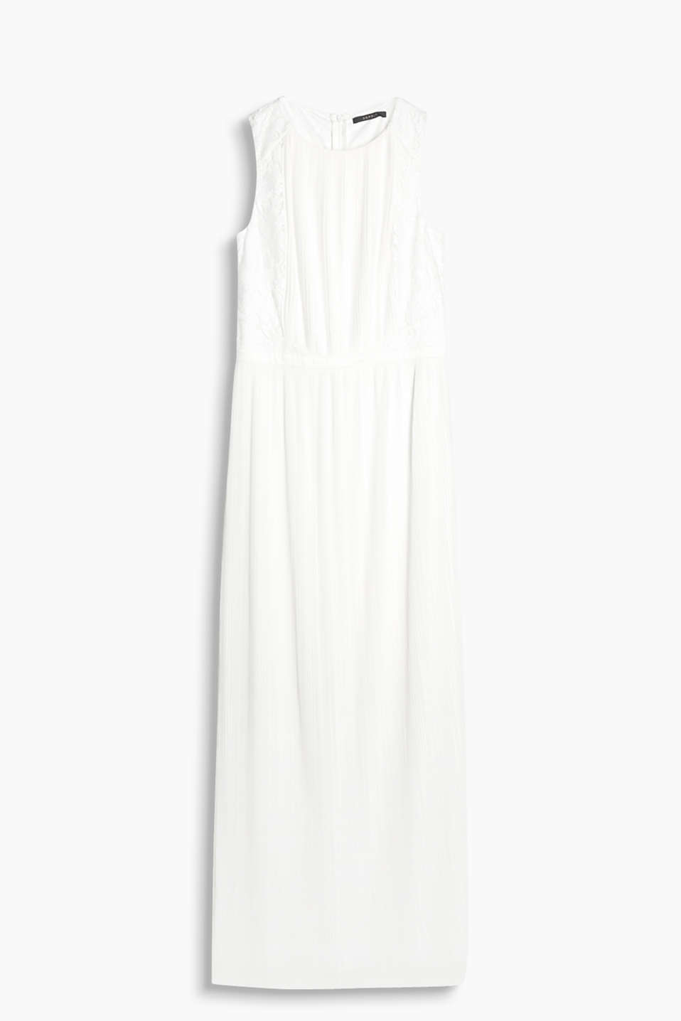 Formal maxi dress with a pleated skirt and lace back, made of jersey and fabric
