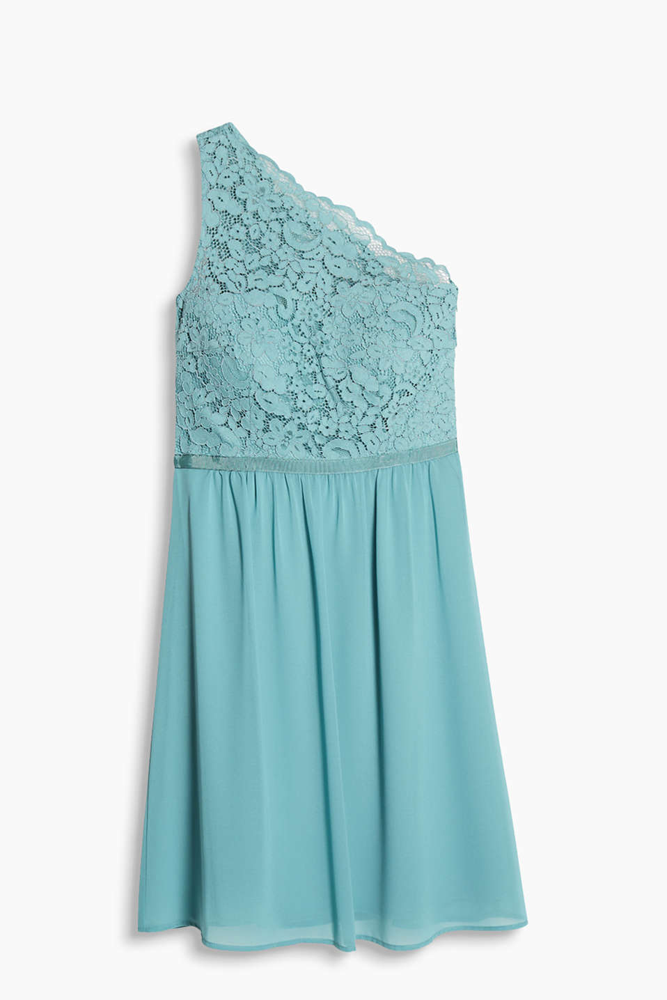 Party dress with lace top and chiffon skirt with inbuilt long bra