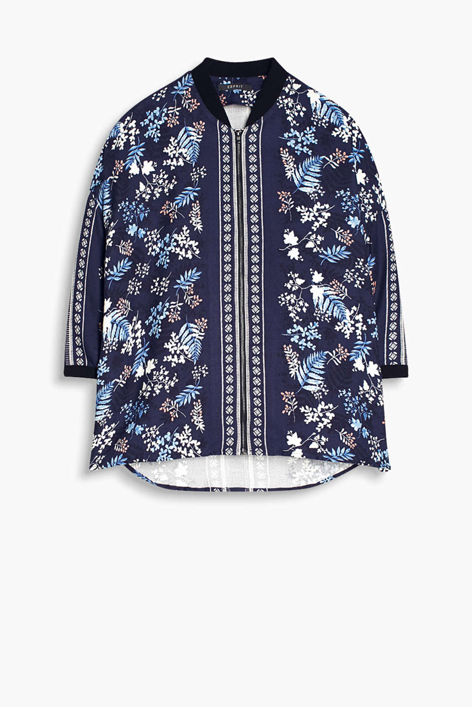 Flowing blouse jacket with a floral print in a characteristic bomber style