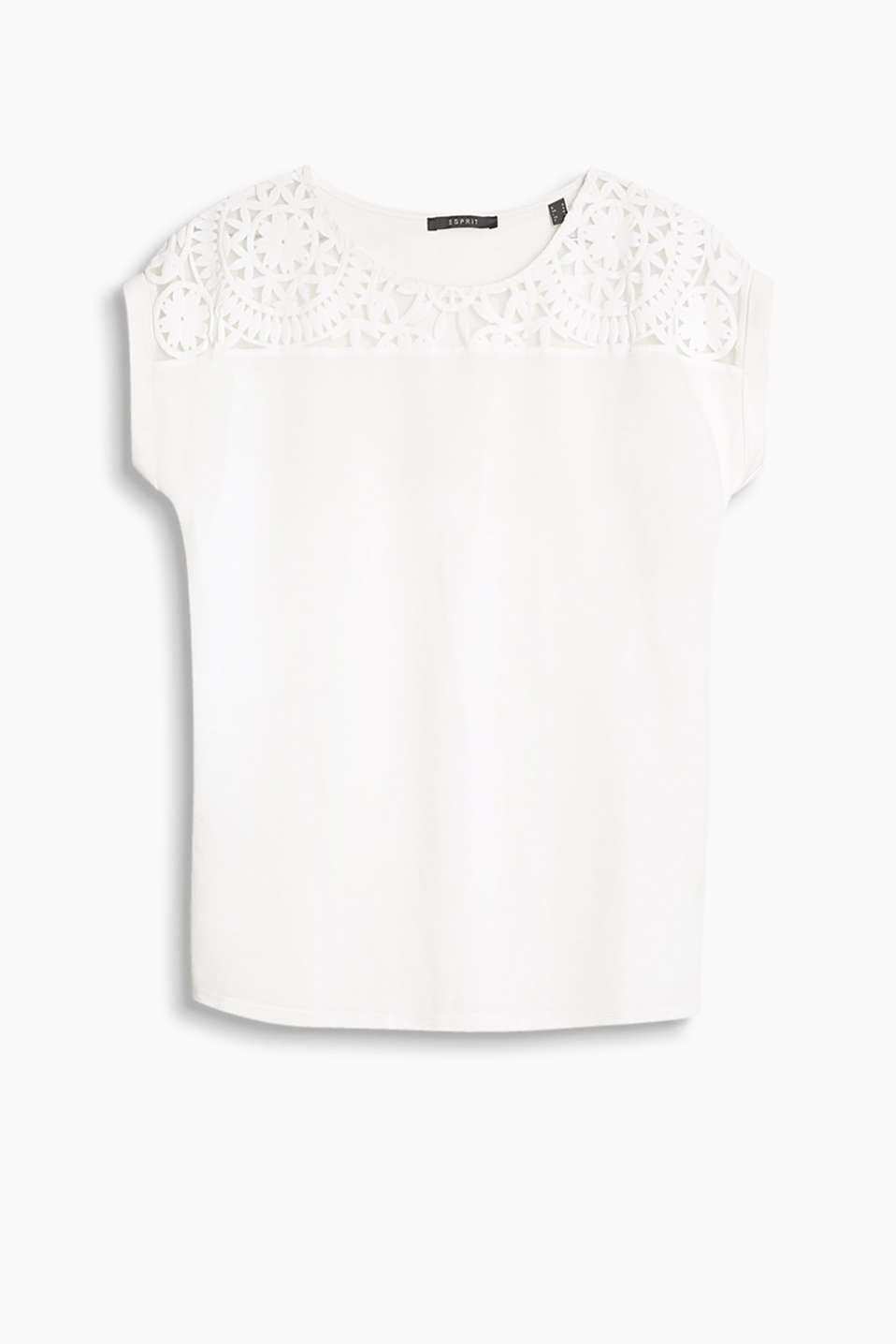 Lace-trimmed top with a burnt-out pattern and dropped shoulders