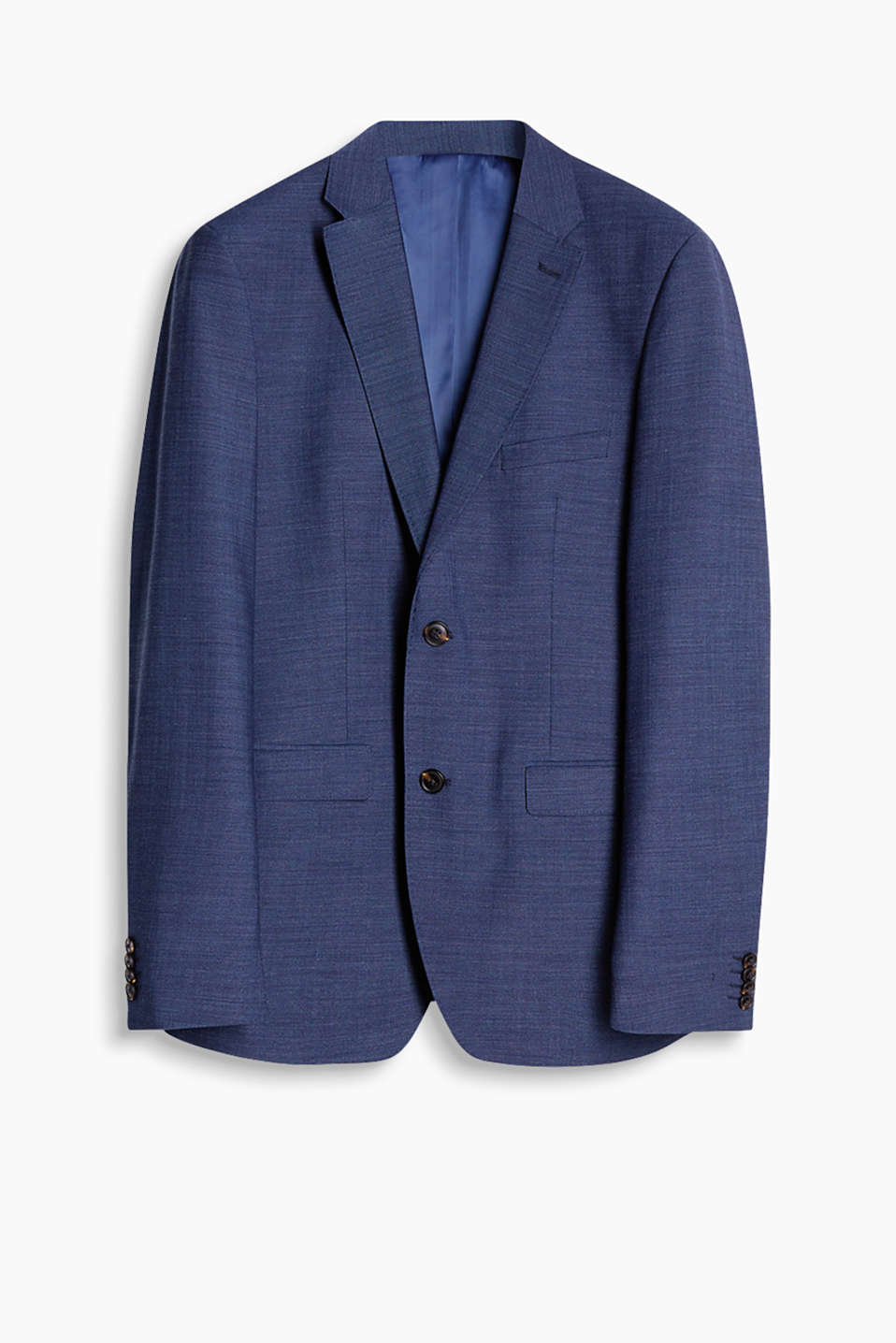 Active Suit: crease resistant tailored jacket in a blended wool with a high percentage of stretch