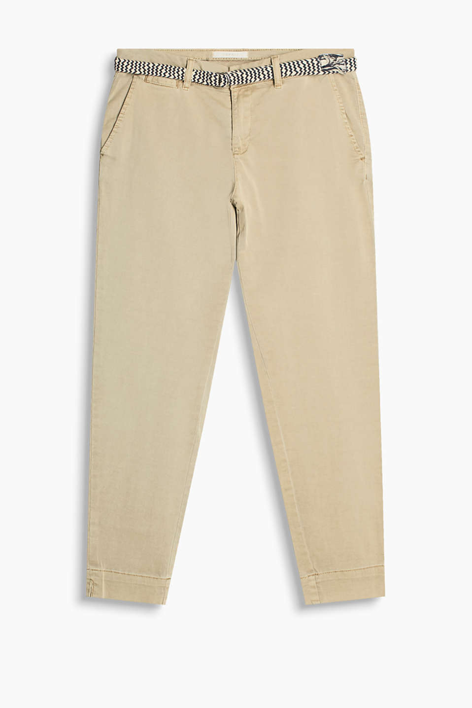 So smart/casual: fashionably cropped, cotton chinos with added elastane for stretchiness and comfort