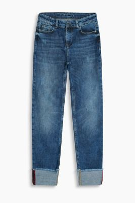 Light turn-up hem stretch jeans