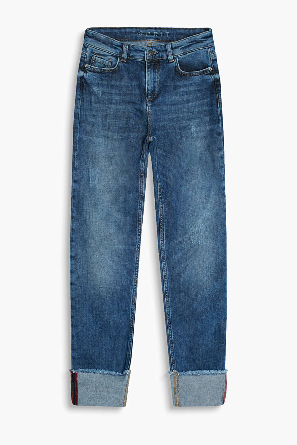 Lightweight stretch jeans with a vintage finish and variable, frayed turn-up hems