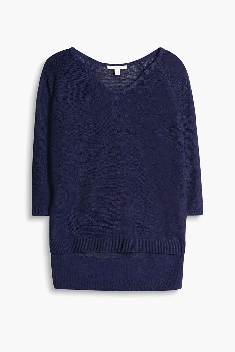 Boxy jumper in high-quality blended fabric with three-quarter sleeves